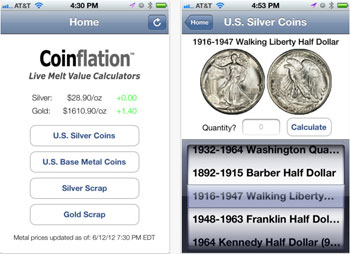 Coinflation app for the iPhone