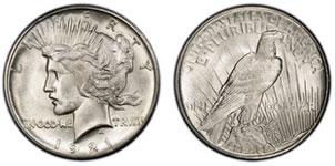 1921 1935 Silver Peace Dollar